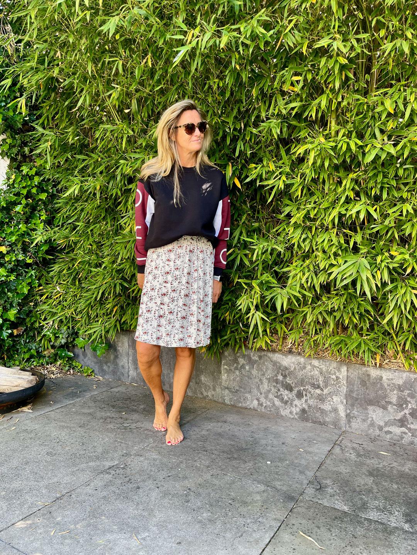 Iro Paris Coline Sweat & Ganni Printed Crepe Skirt
