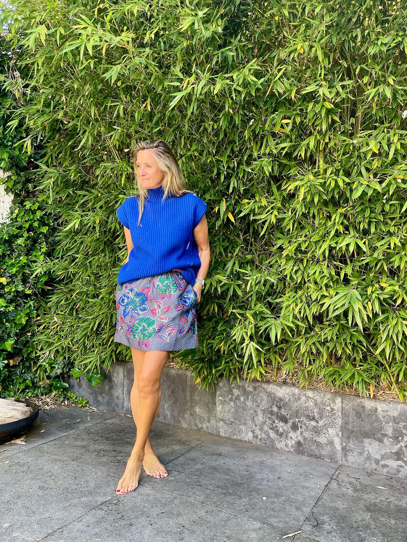 Ganni Structured Jacquard Skirt Sharkskin & Rib Knit Spencer Daphne