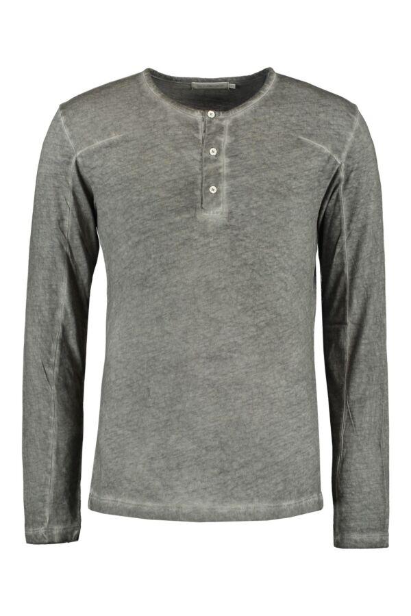Calvin Klein Mannen T-Shirt Lange Mouw in Brushed Nickel - J3DJ300866 942