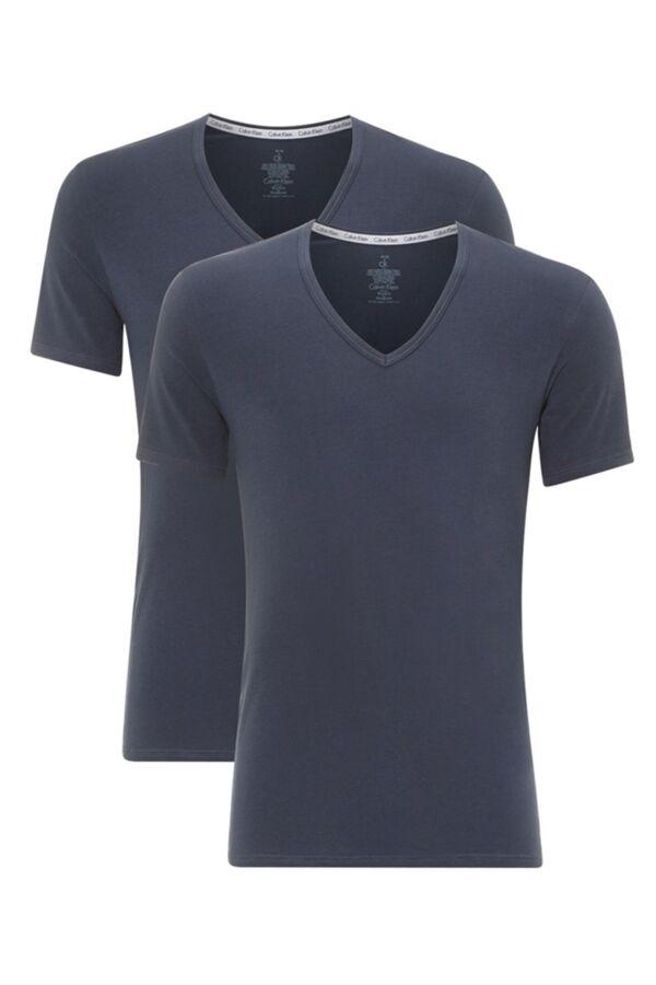 Calvin Klein Underwear 2-pack S/S V-Neck in Blue Shadow - NB1089A-8SB