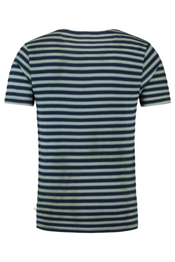 Knowledge Cotton Apparel Yarn Dyed Striped Tee in Total Eclipse - 10278 1001