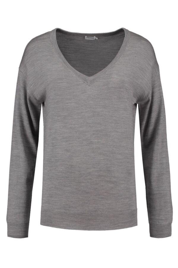 Filippa K Merino V-Neck Pullover in Light Grey - 22180 1451