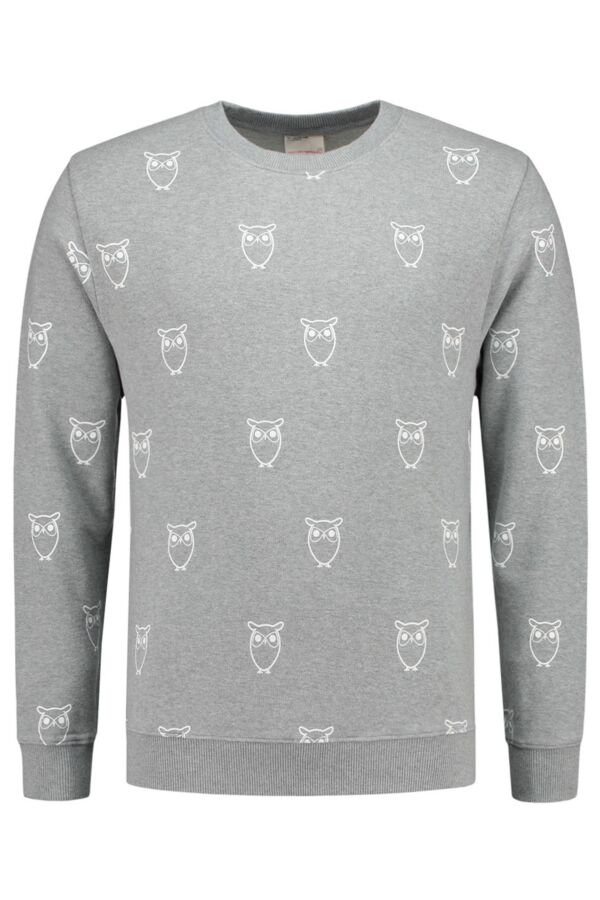 Knowledge Cotton Apparel Sweater Big Owl Print - 30258 1012