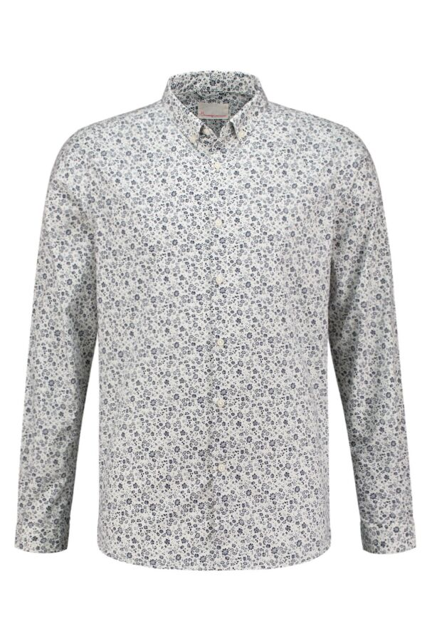 Knowledge Cotton Apparel Shirt All Over Flower Print Peacoat - 90580 1091