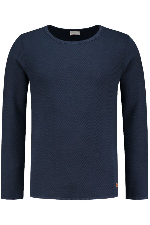Knowledge Cotton Apparel Quilted Sweat in Total Eclipse - 30253 1001