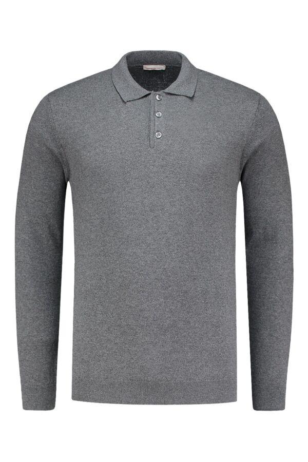 Knowledge Cotton Apparel Long Sleeve Polo Knit Dark Grey Melange - 80456 1073