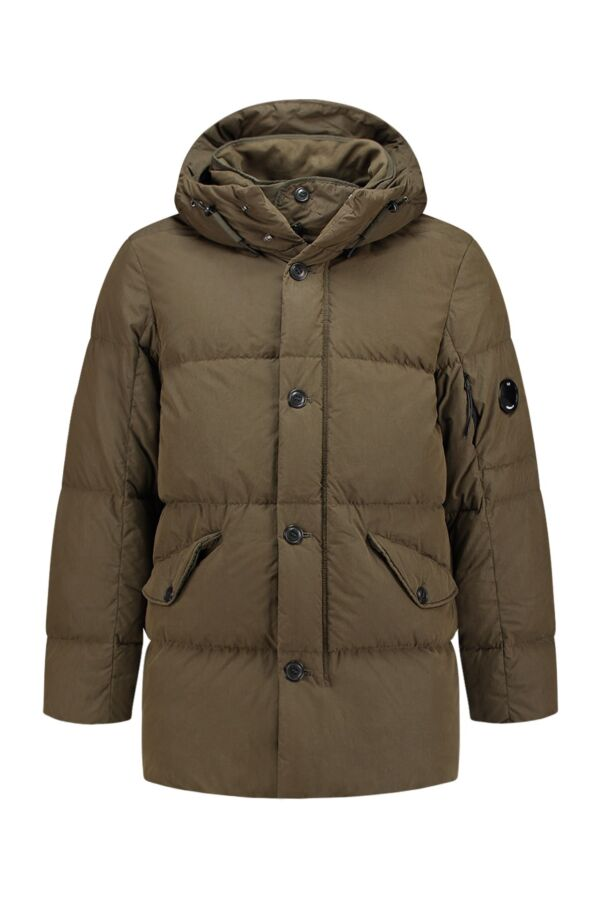 C.P. Company Long Jacket Down in Dark Olive - 03CMOW108A005085G 679