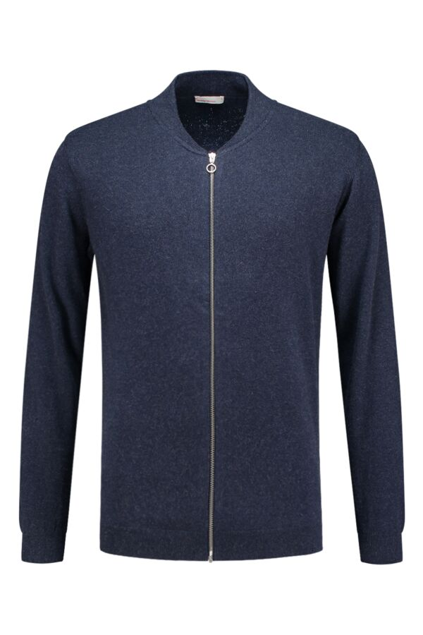 Knowledge Cotton Apparel Cotton Cashmere Cardigan Total Eclipse - 80436 1001