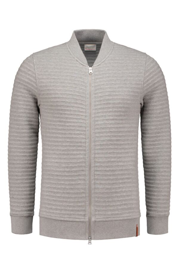 Knowledge Cotton Apparel Quilted Zip Cardigan in Grey Melange - 30346 1012