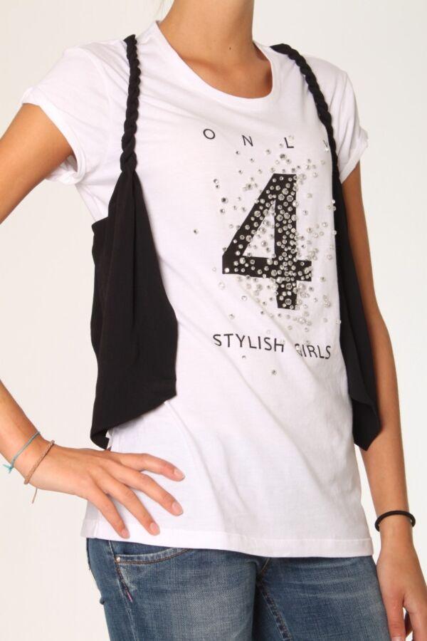 T-Shirt Met Print + Gilet