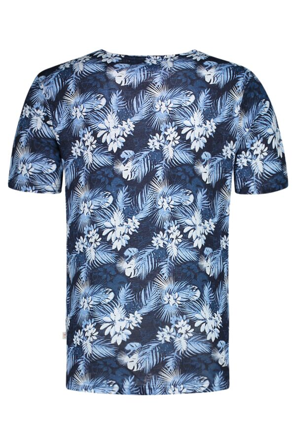 Knowledge Cotton Apparel Linen T-Shirt Print in Total Eclipse - 10427 1001