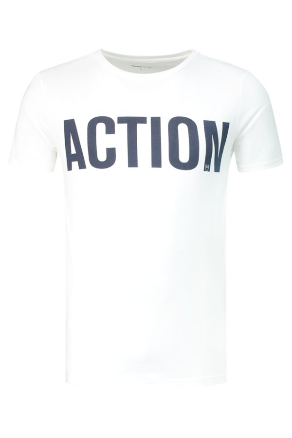 Knowledge Cotton Apparel T-Shirt Action Print in Bright White - 10438 1010