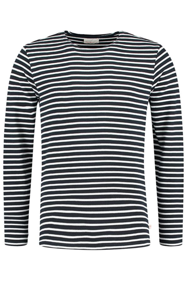 Knowledge Cotton Apparel Yarndyed Striped Sweat in Total Eclipse - 30319 1001