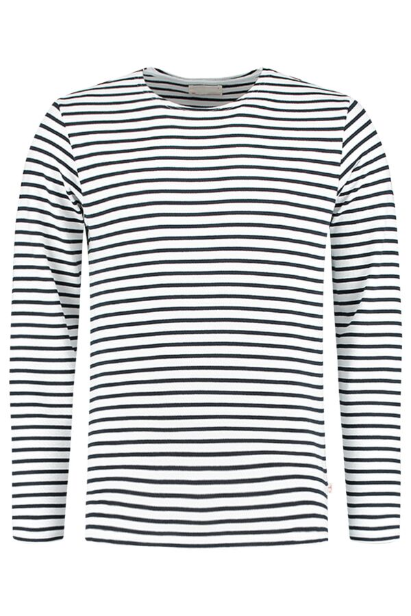 Knowledge Cotton Apparel Yarndyed Striped Sweat in Bright White - 30319 1010
