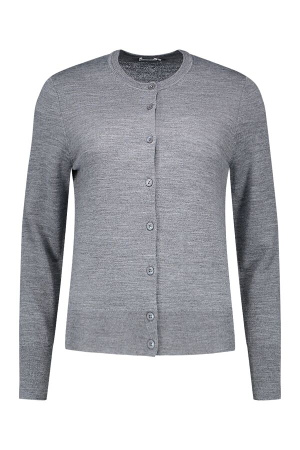 Filippa K Merino Short Cardigan in Mid Grey Mel. - 25302 8069