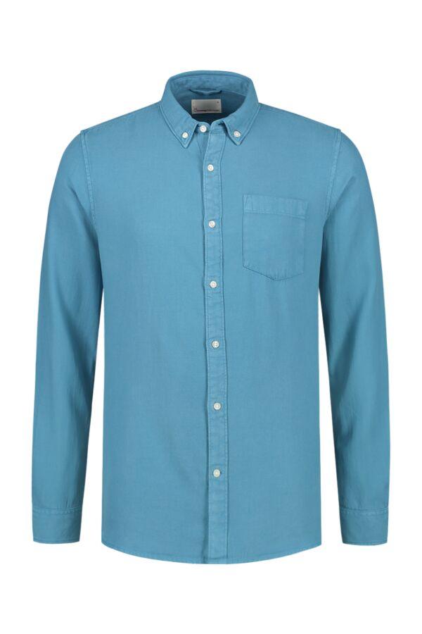 Knowledge Cotton Apparel Twill Shirt Heritage Blue - 90686 1063