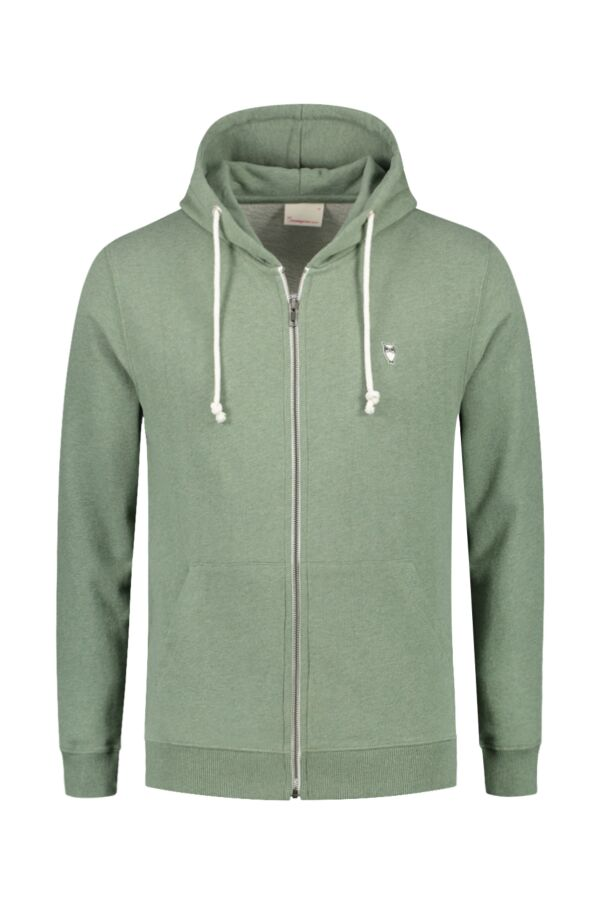 Knowledge Cotton Apparel Hooded Sweatvest in Green Melange - 30186 1232