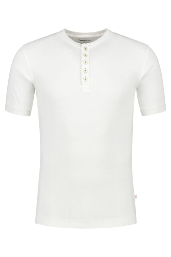Knowledge Cotton Apparel Short Sleeve Henley Bright White - 81068 1010