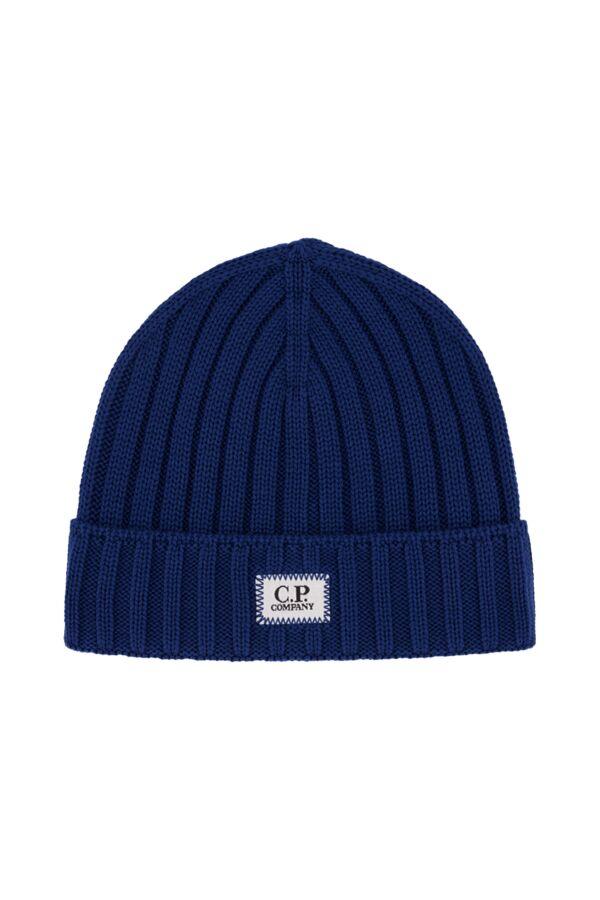 C.P. Company Extrafine Merino Wool Hat Dark Denim - 07CMAC214A 005509A 879