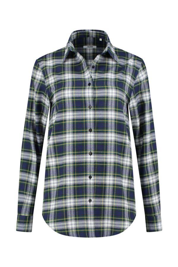 Bloom Fashion Blouse Flannel Ruit Blauw - 1105 55306 001