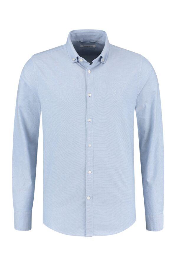 Knowledge Cotton Apparel Elder LS Small Owl Oxford Shirt Lapis Blue - 90822 1235