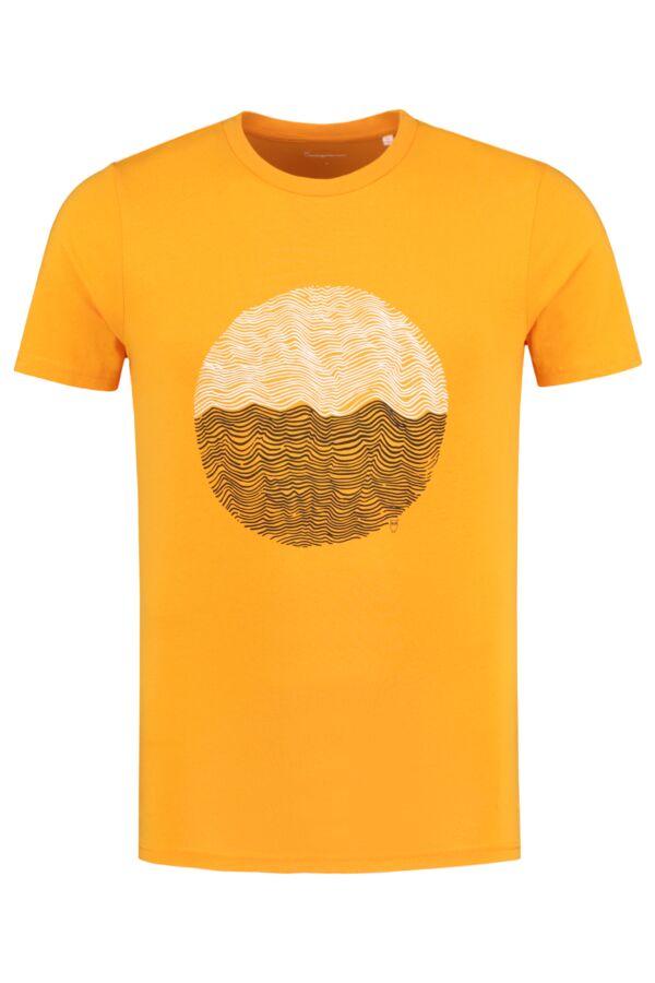 Knowledge Cotton Apparel Alder Wave Tee Zennia Yellow - 10555 1306