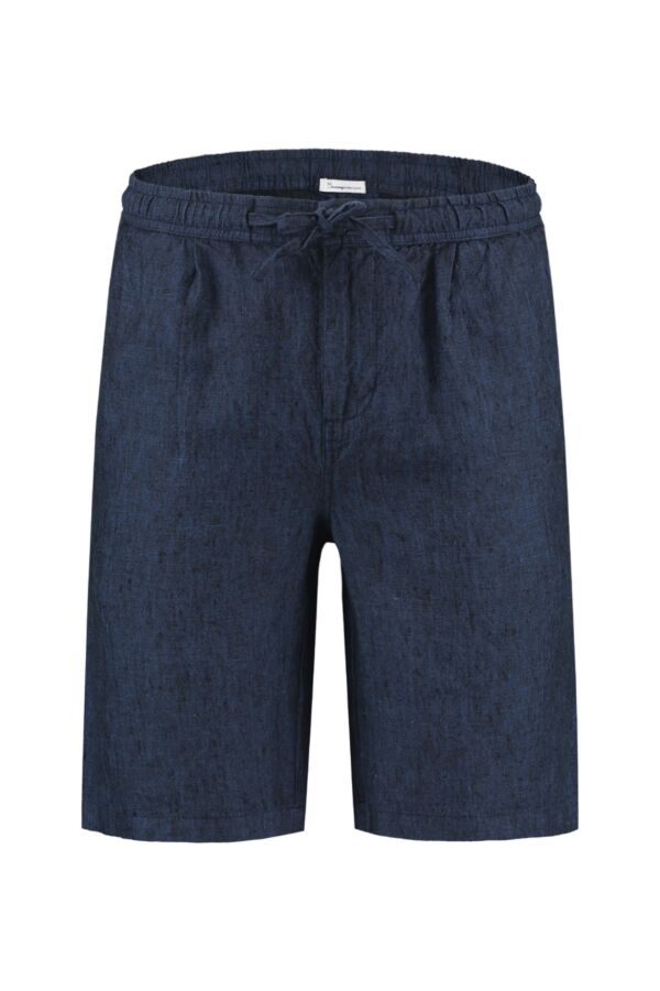 Knowledge Cotton Apparel Birch Loose Linen Shorts Total Eclipse - 50181 1001