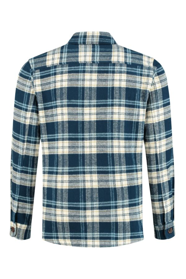 Knowledge Cotton Apparel Pine Checked Overshirt Moonlite Ocean - 94033 1307