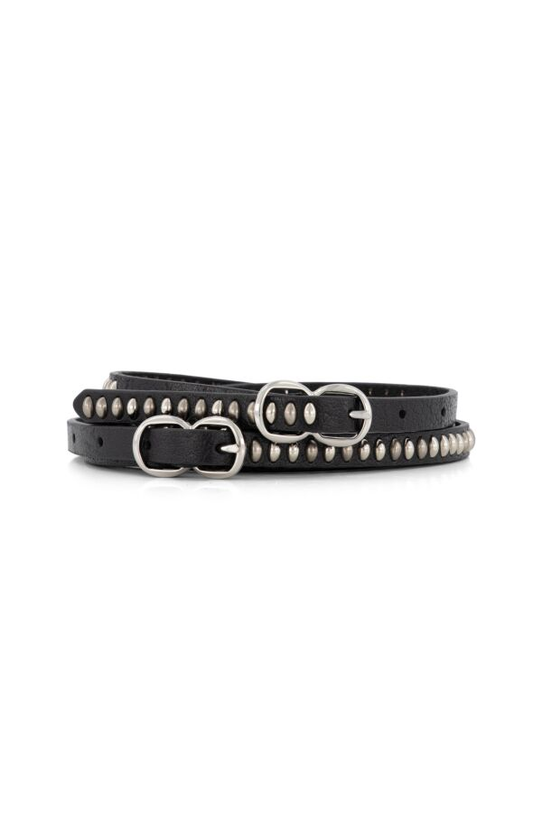 the Kaia Ava Leather Belt Black Silver Studs