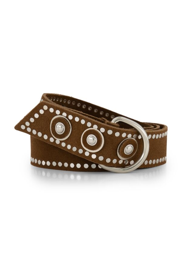 the Kaia Dolly Suede Belt Tobacco