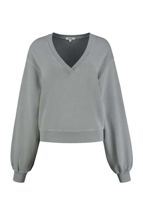 Agolde Low V-Neck Balloon Sleeve Sweater Zinc - A7057 Zin