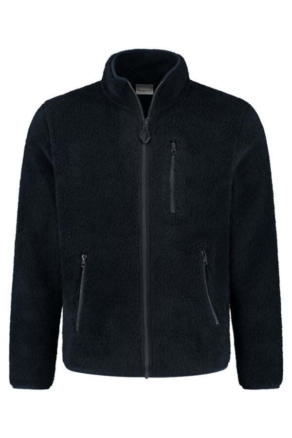 Knowledge Cotton Apparel Zip Teddy Fleece Sweat Vest Total Eclipse - 30454 1001