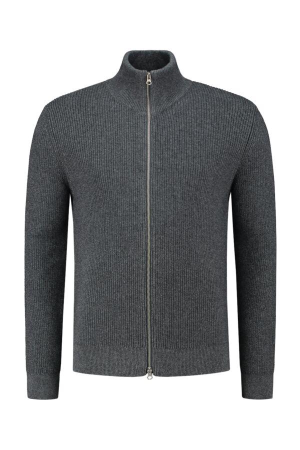 Knowledge Cotton Apparel Valley Zip Cardigan Dark Grey Melange - 80562 1073