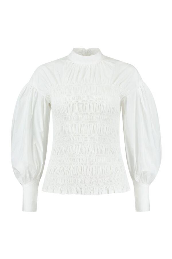 Ganni Cotton Poplin Smock Blouse Bright White - F5821 6180 151