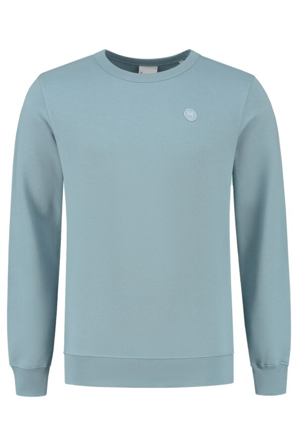 Knowledge Cotton Apparel Elm Basic Badge Sweater 30518 1322 Asley Blue