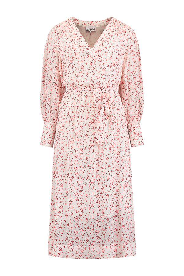 Ganni Printed Georgette Dress Egret - F5879 6171 135