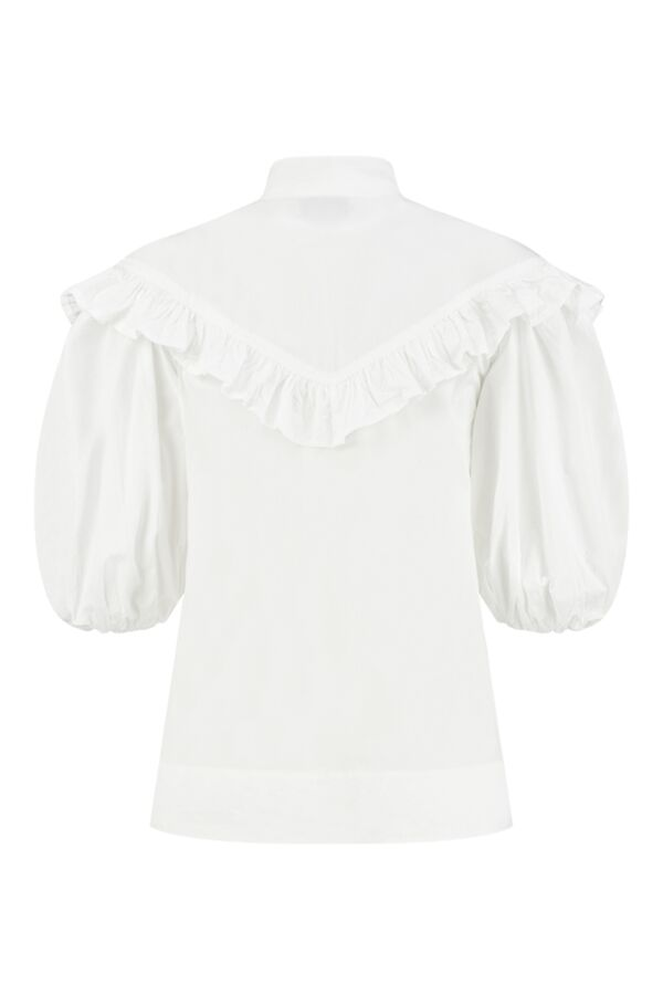 Ganni Cotton Poplin Frill Shirt Bright White - F5820 6180 151