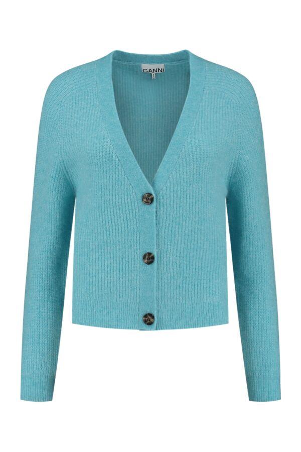 Ganni Soft Wool Knit Cardigan Bachelor Blue - K1498 2509 871