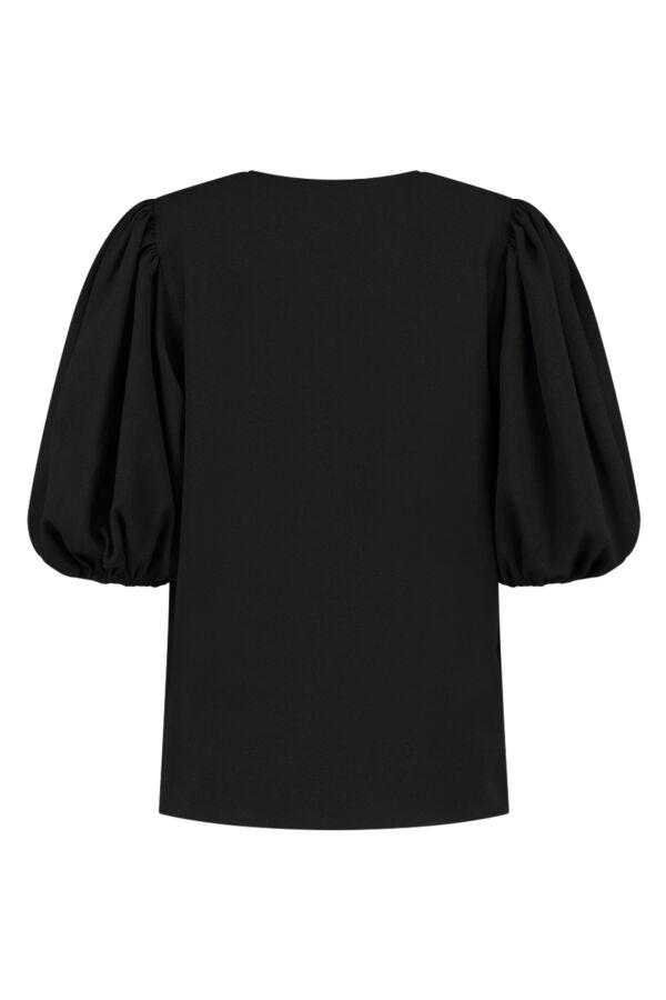 Ganni Heavy Crepe V-Neck Blouse Black - F5801 6176 099