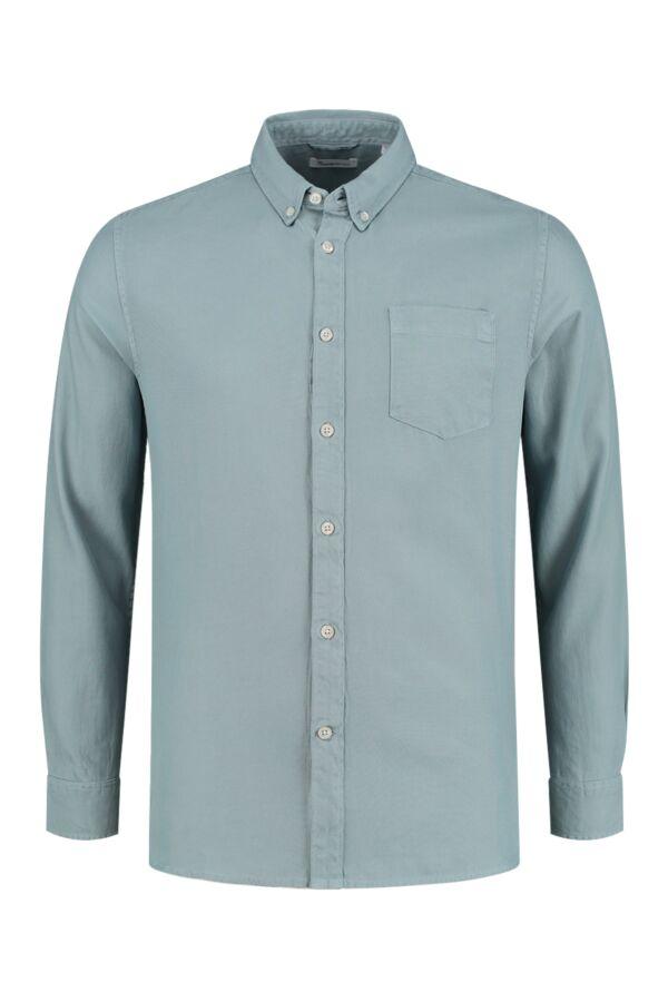 Knowledge Cotton Apparel Larch Tencel Shirt Asley Blue - 90686 1322