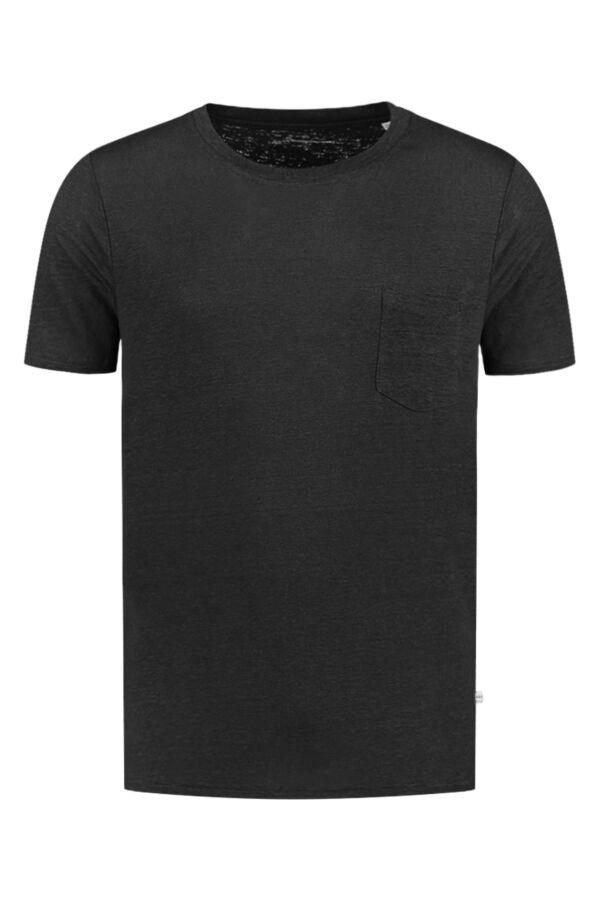 Knowledge Cotton Apparel Alder Linen Tee Black Jet - 10373 1300