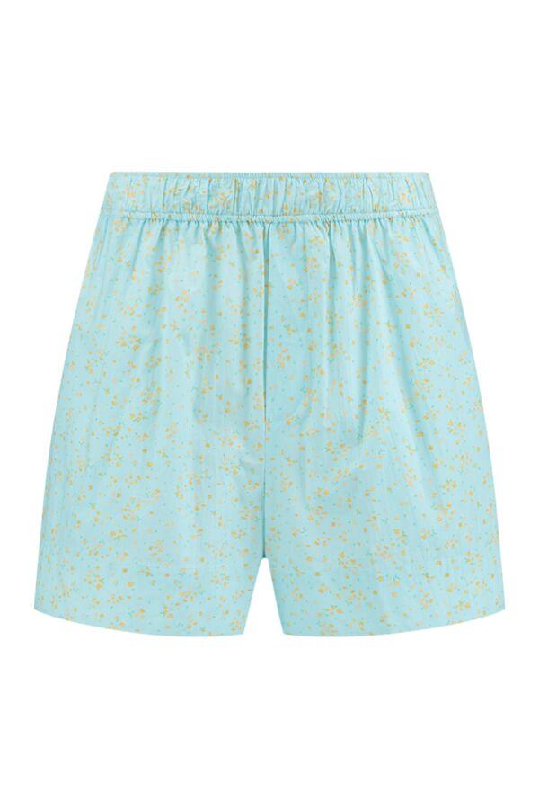 Ganni Printed Cotton Poplin Shorts Corydalis Blue - F5909 6170 870