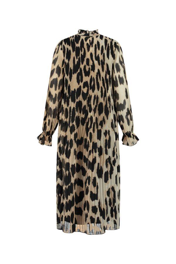 Ganni Pleated Georgette Dress Maxi Leopard - F5862 6172 994