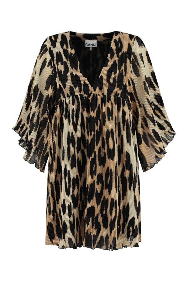 Ganni Pleated Georgette Mini Dress Maxi Leopard - F5861 6172 994
