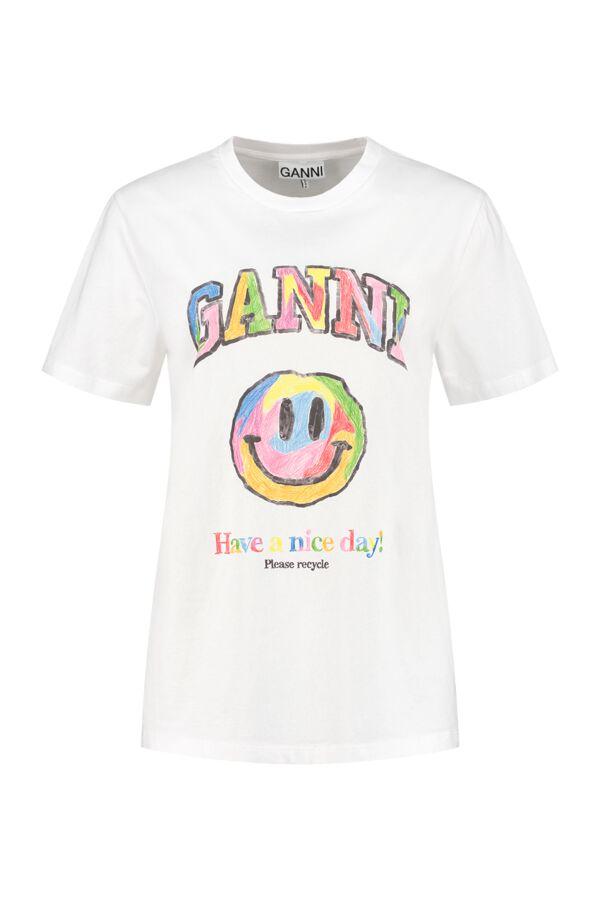 Ganni T-Shirt Smiley Bright White - T2797 3501 151