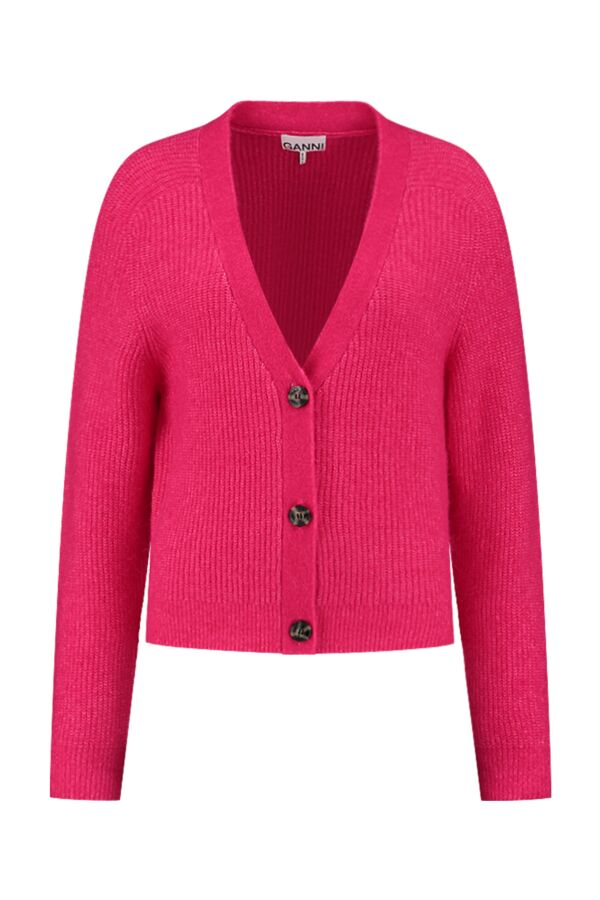 Ganni Soft Wool Knit Cardigan Shocking Pink - K1575 2529 483