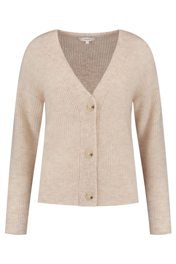 Vince Featherweight Ribbed Cardigan Pale Fawn - V755778797 298