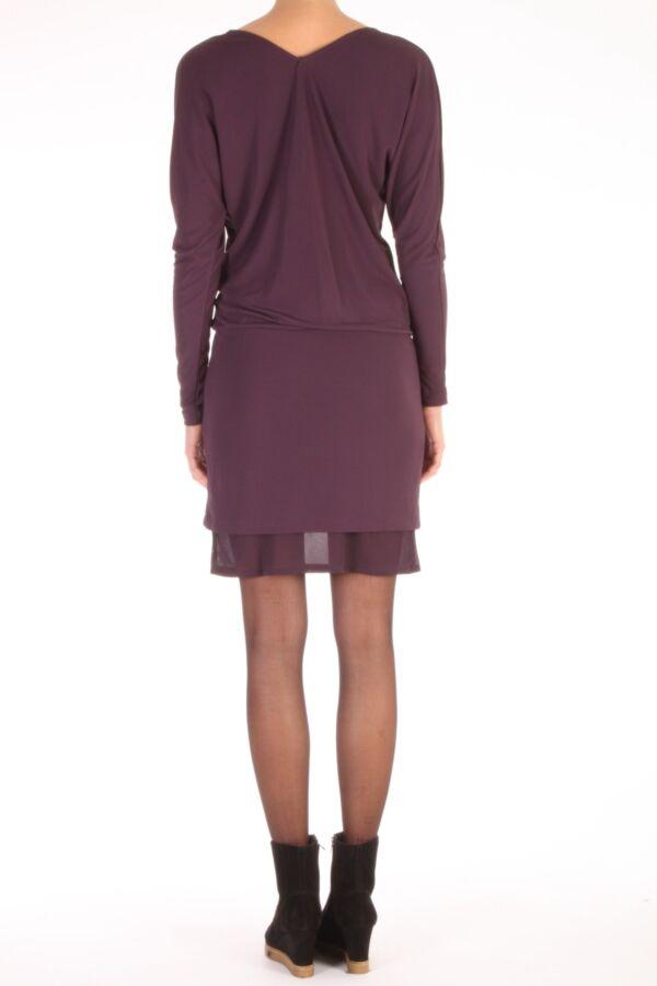 Filippa K Jurk Drapey Layer Dress 1-15-18324  in blackberry 431640.