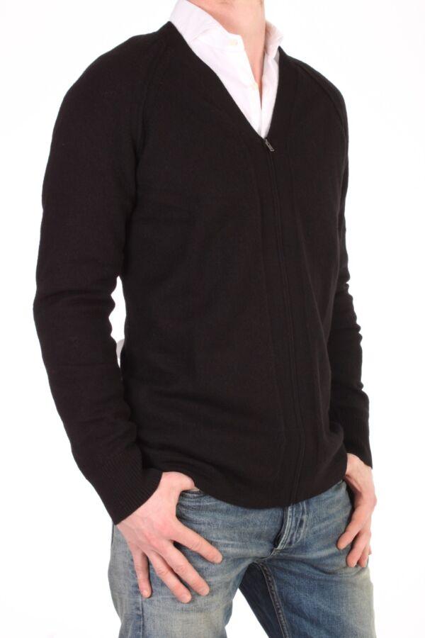 Filippa K Boiled Wool Zip Cardi in Black - 2-9-18576 914330