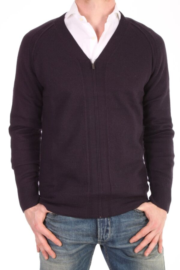 Filippa K Boiled Wool Zip Cardi in Night - 2-9-18576 431590